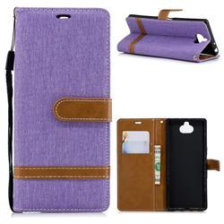 Jeans Cowboy Denim Leather Wallet Case for Sony Xperia XA3 - Purple