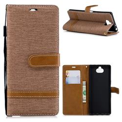 Jeans Cowboy Denim Leather Wallet Case for Sony Xperia XA3 - Brown