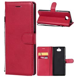 Retro Greek Classic Smooth PU Leather Wallet Phone Case for Sony Xperia 10 / Xperia XA3 - Red