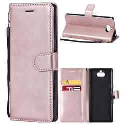 Retro Greek Classic Smooth PU Leather Wallet Phone Case for Sony Xperia XA3 - Rose Gold