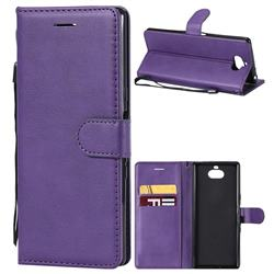 Retro Greek Classic Smooth PU Leather Wallet Phone Case for Sony Xperia XA3 - Purple