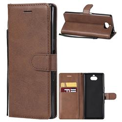 Retro Greek Classic Smooth PU Leather Wallet Phone Case for Sony Xperia 10 / Xperia XA3 - Brown