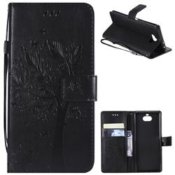 Embossing Butterfly Tree Leather Wallet Case for Sony Xperia 10 / Xperia XA3 - Black
