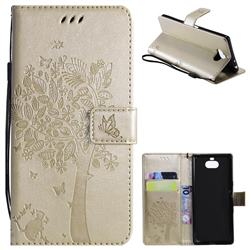 Embossing Butterfly Tree Leather Wallet Case for Sony Xperia 10 / Xperia XA3 - Champagne