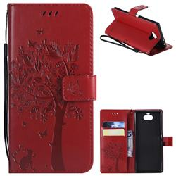 Embossing Butterfly Tree Leather Wallet Case for Sony Xperia 10 / Xperia XA3 - Red