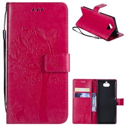 Embossing Butterfly Tree Leather Wallet Case for Sony Xperia 10 / Xperia XA3 - Rose
