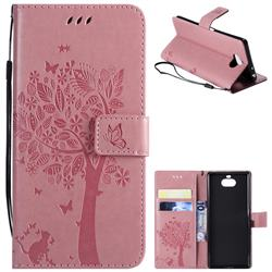 Embossing Butterfly Tree Leather Wallet Case for Sony Xperia 10 / Xperia XA3 - Pink