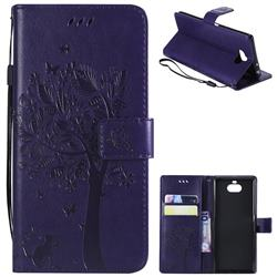 Embossing Butterfly Tree Leather Wallet Case for Sony Xperia 10 / Xperia XA3 - Purple