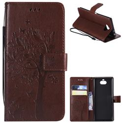 Embossing Butterfly Tree Leather Wallet Case for Sony Xperia 10 / Xperia XA3 - Coffee