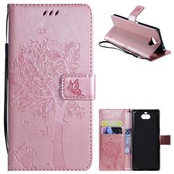 Embossing Butterfly Tree Leather Wallet Case for Sony Xperia 10 / Xperia XA3 - Rose Pink