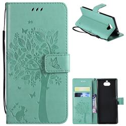 Embossing Butterfly Tree Leather Wallet Case for Sony Xperia 10 / Xperia XA3 - Cyan