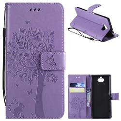 Embossing Butterfly Tree Leather Wallet Case for Sony Xperia 10 / Xperia XA3 - Violet