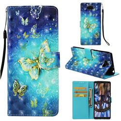 Gold Butterfly 3D Painted Leather Wallet Case for Sony Xperia 10 / Xperia XA3