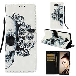 Skull Flower 3D Painted Leather Wallet Case for Sony Xperia 10 / Xperia XA3