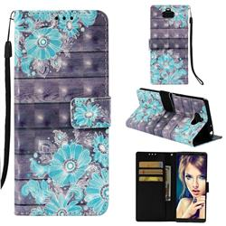 Blue Flower 3D Painted Leather Wallet Case for Sony Xperia 10 / Xperia XA3