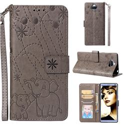 Embossing Fireworks Elephant Leather Wallet Case for Sony Xperia 10 / Xperia XA3 - Gray