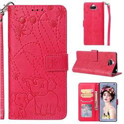 Embossing Fireworks Elephant Leather Wallet Case for Sony Xperia 10 / Xperia XA3 - Red