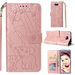 Embossing Fireworks Elephant Leather Wallet Case for Sony Xperia 10 / Xperia XA3 - Rose Gold