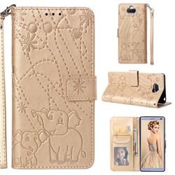 Embossing Fireworks Elephant Leather Wallet Case for Sony Xperia 10 / Xperia XA3 - Golden