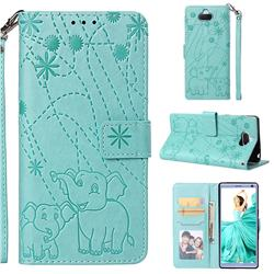 Embossing Fireworks Elephant Leather Wallet Case for Sony Xperia 10 / Xperia XA3 - Green