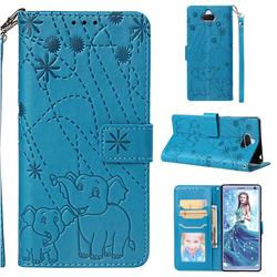 Embossing Fireworks Elephant Leather Wallet Case for Sony Xperia 10 / Xperia XA3 - Blue