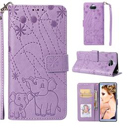 Embossing Fireworks Elephant Leather Wallet Case for Sony Xperia 10 / Xperia XA3 - Purple