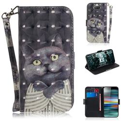 Cat Embrace 3D Painted Leather Wallet Phone Case for Sony Xperia 10 / Xperia XA3