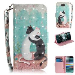 Black and White Cat 3D Painted Leather Wallet Phone Case for Sony Xperia 10 / Xperia XA3