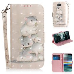 Three Squirrels 3D Painted Leather Wallet Phone Case for Sony Xperia 10 / Xperia XA3