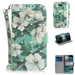 Watercolor Flower 3D Painted Leather Wallet Phone Case for Sony Xperia 10 / Xperia XA3