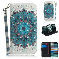 Peacock Mandala 3D Painted Leather Wallet Phone Case for Sony Xperia 10 / Xperia XA3