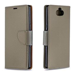 Classic Luxury Litchi Leather Phone Wallet Case for Sony Xperia 10 / Xperia XA3 - Gray