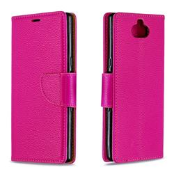 Classic Luxury Litchi Leather Phone Wallet Case for Sony Xperia 10 / Xperia XA3 - Rose