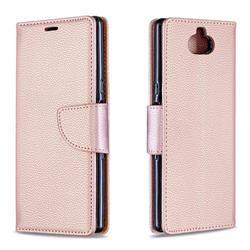 Classic Luxury Litchi Leather Phone Wallet Case for Sony Xperia 10 / Xperia XA3 - Golden