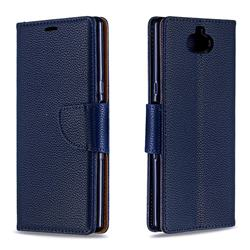 Classic Luxury Litchi Leather Phone Wallet Case for Sony Xperia 10 / Xperia XA3 - Blue