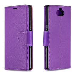 Classic Luxury Litchi Leather Phone Wallet Case for Sony Xperia 10 / Xperia XA3 - Purple