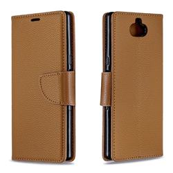 Classic Luxury Litchi Leather Phone Wallet Case for Sony Xperia 10 / Xperia XA3 - Brown