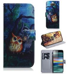 Oil Painting Owl PU Leather Wallet Case for Sony Xperia 10 / Xperia XA3