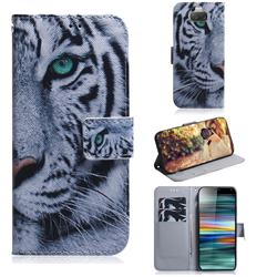 White Tiger PU Leather Wallet Case for Sony Xperia 10 / Xperia XA3