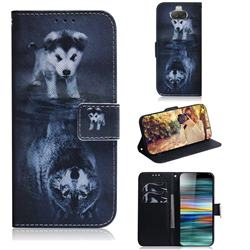 Wolf and Dog PU Leather Wallet Case for Sony Xperia 10 / Xperia XA3