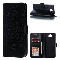 Intricate Embossing Datura Solar Leather Wallet Case for Sony Xperia 10 / Xperia XA3 - Black