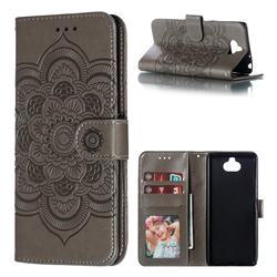 Intricate Embossing Datura Solar Leather Wallet Case for Sony Xperia 10 / Xperia XA3 - Gray