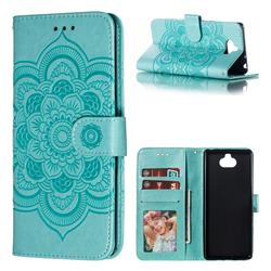 Intricate Embossing Datura Solar Leather Wallet Case for Sony Xperia 10 / Xperia XA3 - Green
