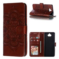 Intricate Embossing Datura Solar Leather Wallet Case for Sony Xperia 10 / Xperia XA3 - Brown