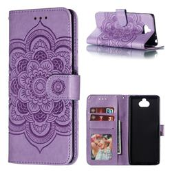 Intricate Embossing Datura Solar Leather Wallet Case for Sony Xperia 10 / Xperia XA3 - Purple