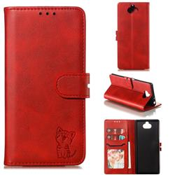 Embossing Happy Cat Leather Wallet Case for Sony Xperia 10 / Xperia XA3 - Red