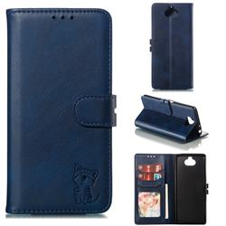 Embossing Happy Cat Leather Wallet Case for Sony Xperia 10 / Xperia XA3 - Blue