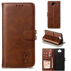 Embossing Happy Cat Leather Wallet Case for Sony Xperia 10 / Xperia XA3 - Brown