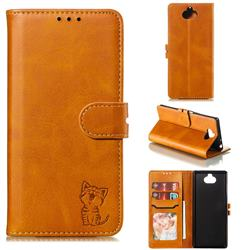 Embossing Happy Cat Leather Wallet Case for Sony Xperia 10 / Xperia XA3 - Yellow