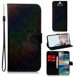 Laser Circle Shining Leather Wallet Phone Case for Sony Xperia 10 / Xperia XA3 - Black